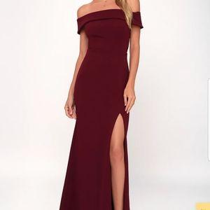 Burgundy off the shoulder maxi dress